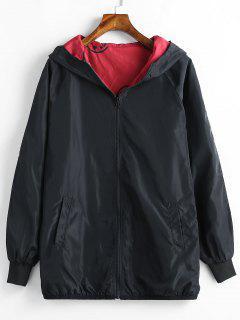 Veste à Capuche Zippée Brodée De Grande Taille - Noir 3x