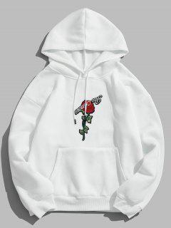 ZAFUL Pullover Rose À Capuche Broderie - Blanc M
