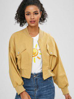 Faux Pockets Dolman Sleeves Jacket - Goldenrod S
