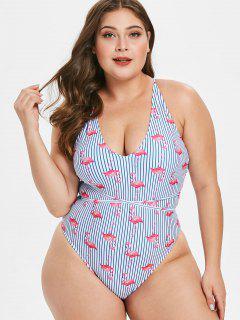 ZAFUL Plus Size Flamingo Striped Cutout Swimsuit - Blueberry Blue L