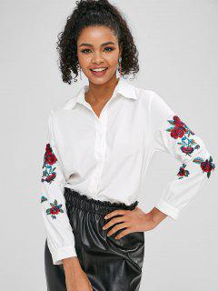 Floral Embroidered Button Up Shirt - White S