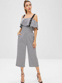 Checked Overlay Cropped Cami Jumpsuit - Multi S