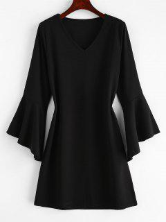 Casual Flare Sleeve Mini Dress - Black M