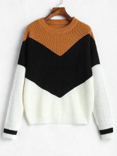 Suéter De Puente De Color Bloque Zig Zag - Multicolor-a