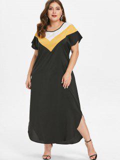 Plus Size Ankle Length Color Block Dress - Black 2x