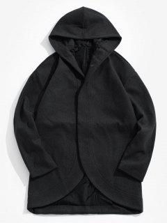 Hooded Hidden Button Coat - Black M