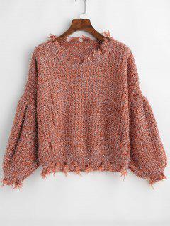 Distressed Lantern Sleeve Sweater - Rust