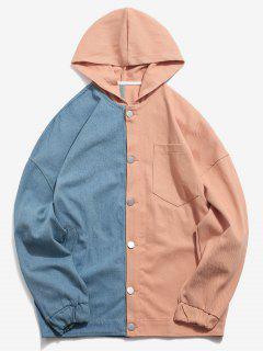 Drop Shoulder Color Block Hoodie Jacket - Pink Xl