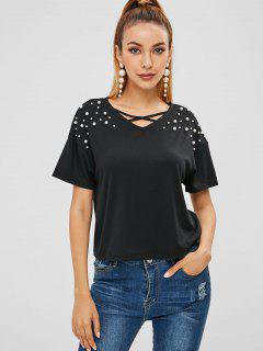 T-shirt à Ornements En Fausse Perle Criss Cross - Noir M