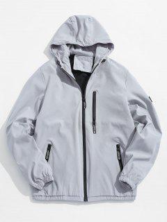 Applique Zip Up Hooded Jacket - Gray S