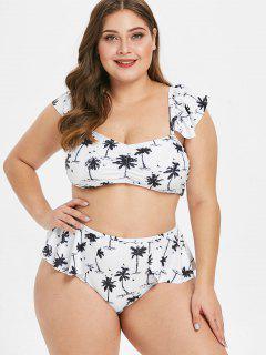 ZAFUL Coconut Palm - Rüschen Plus Size Bikini Set - Weiß 3x