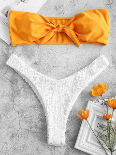 ZAFUL Tied Color Block Smocked Bikini Set - Bright Yellow M