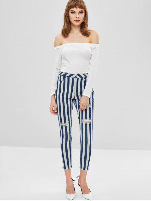 ZAFUL Jeans a rayas desgastados con dobladillo - Azul Oscuro de Denim XL Mobile