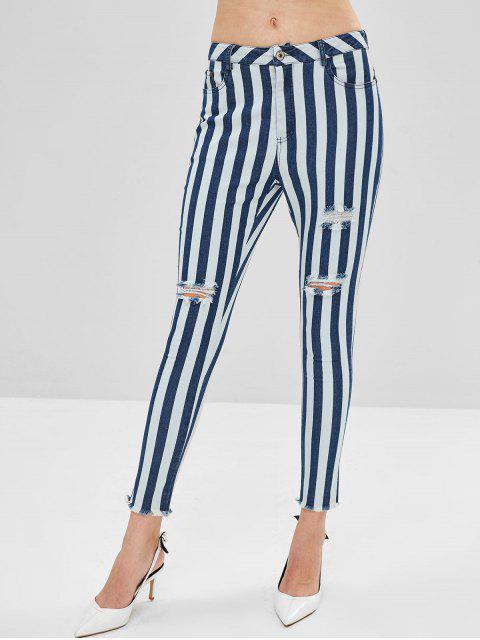 ZAFUL - Gestreifte Jeans mit ausgefranstem Saum - Denim Dunkelblau XL Mobile