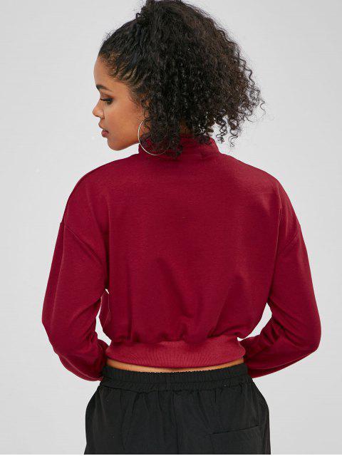 chic ZAFUL Zip Contrast Drop Shoulder Sweatshirt - RED WINE M Mobile