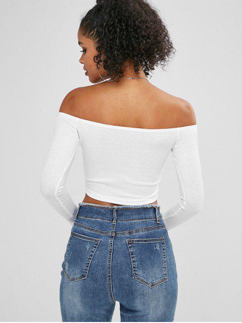 shop Buttoned Off The Shoulder Crop Top - MILK WHITE S Mobile