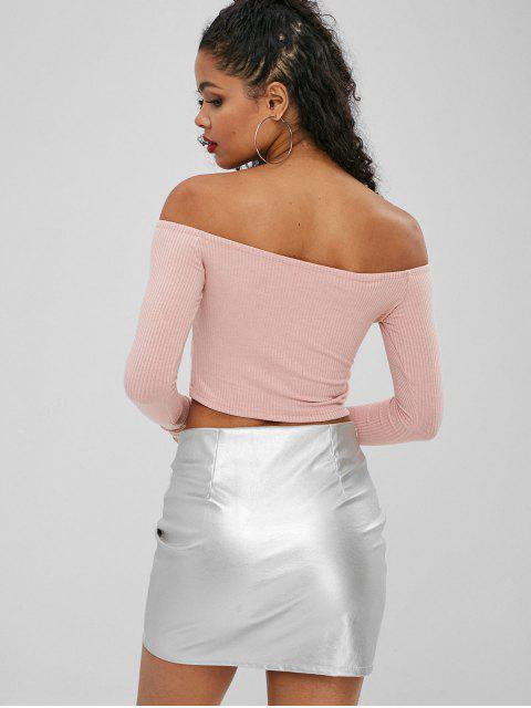 latest Buttoned Off The Shoulder Crop Top - LIGHT PINK S Mobile