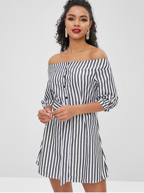 best Button Up Stripes Off Shoulder Dress - GRAPHITE BLACK M Mobile
