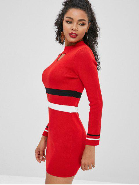 buy Tight Colorblock Mini Sweater Dress - LAVA RED ONE SIZE Mobile