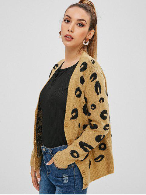 outfit Button Up Leopard Graphic Cardigan - CAMEL BROWN ONE SIZE Mobile