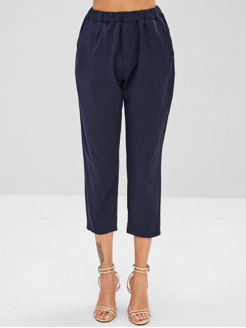 chic Plain Pockets Straight Pants - DARK SLATE BLUE XL Mobile
