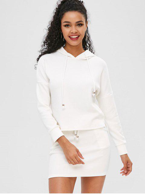 womens Drawstring Ribbed Two Piece Dress - MILK WHITE M Mobile