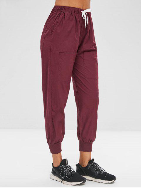 latest Pockets Drawstring Pants - PLUM VELVET M Mobile