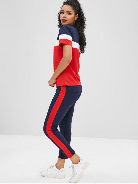 unique Short Sleeves Colorblock Tee with Striped Track Pants - BLACK XL Mobile