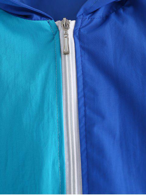 ZAFUL Veste Coupe Vent Bicolore Zippée - Bleu de Soie M Mobile