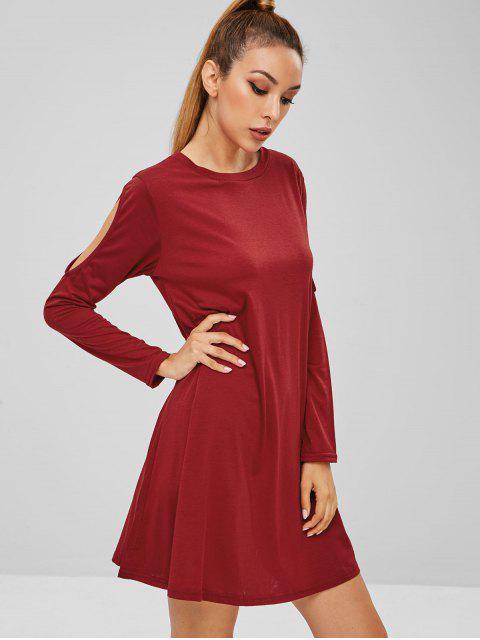 hot Cutout Trapeze Dress - RED WINE M Mobile