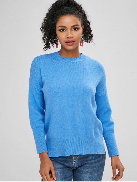hot Side Slit Plain Loose Sweater - DODGER BLUE ONE SIZE Mobile