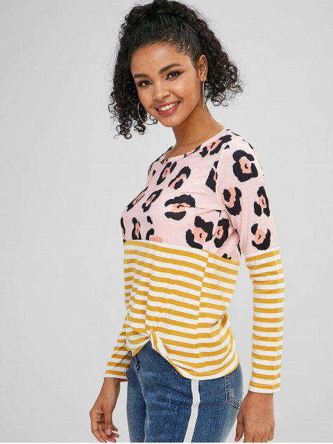 outfits Knot Leopard Panel Striped T-shirt - MULTI M Mobile