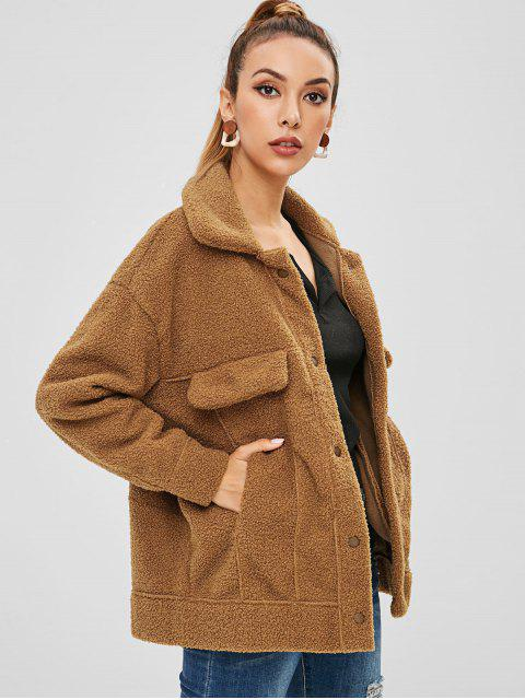 outfits Pockets Faux Fur Teddy Coat - COFFEE S Mobile