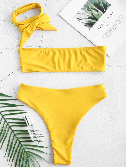 fancy Multiway High Leg Bralette Bikini Set - GOLDEN BROWN L Mobile