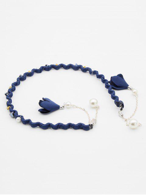 buy Floral Faux Pearl Hair Hoop - BLUE  Mobile