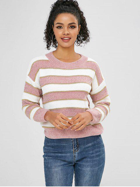 fashion Color Block Two Tone Glitter Sweater - PINK ONE SIZE Mobile