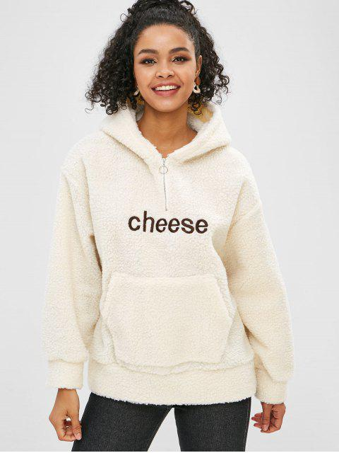 outfits Cheese Graphic Embroidered Front Pocket Fluffy Hoodie - BEIGE ONE SIZE Mobile