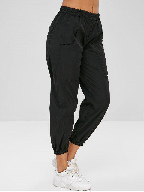 Pantalon Cargo de Jogging Lettre Brodée avec Poche - Noir Taille Unique Mobile