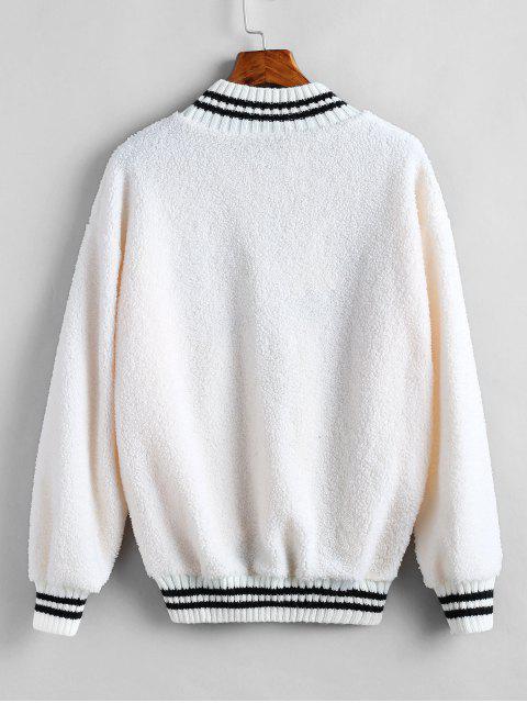 Sweat-shirt Embelli en Laine - Blanc Chaud Taille Unique Mobile