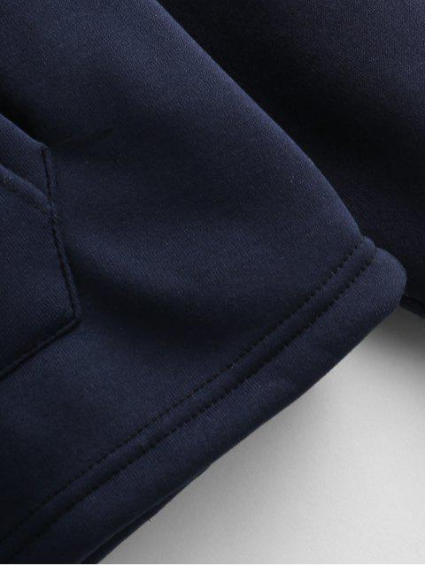 womens Embroidered Fleece Lined Pouch Pocket Sweatshirt - MIDNIGHT BLUE L Mobile