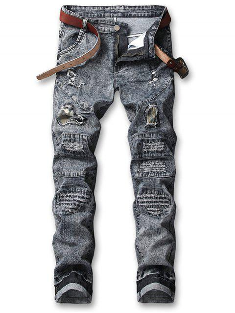 best Hole Camo Patchwork Ripped Jeans - CARBON GRAY 36 Mobile