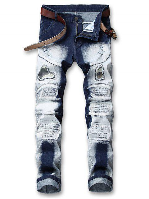 trendy Hole Camo Patchwork Ripped Jeans - DENIM DARK BLUE 42 Mobile