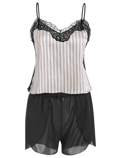 outfits Striped Lace Insert Pajama Set - BLACK 2XL Mobile