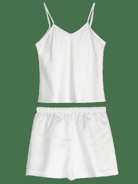 chic Cami Solid Pajama Set - WHITE XL Mobile