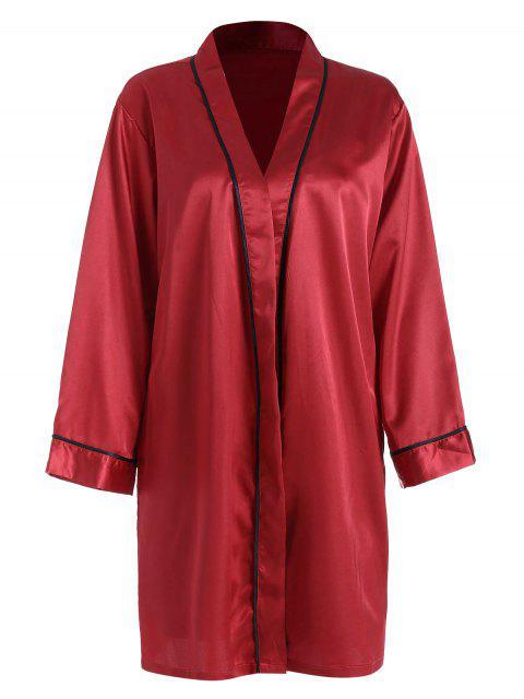 lady Bowknot Color Block Satin Pajama Set - RED WINE M Mobile