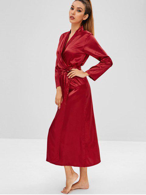 Robe Pyjama Longue Ceinturée - Rouge Vineux XL Mobile