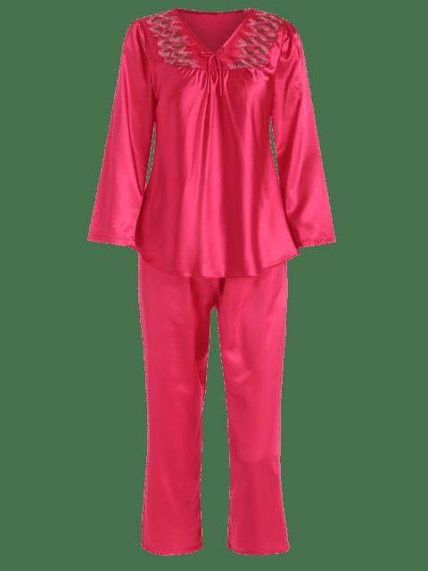 sale Satin Embroidered V Neck Pajama Set - RED XL Mobile