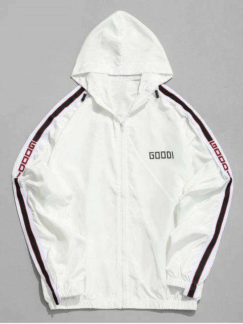 ladies Side Letter Stripe Sunproof Jacket - WHITE 2XL Mobile