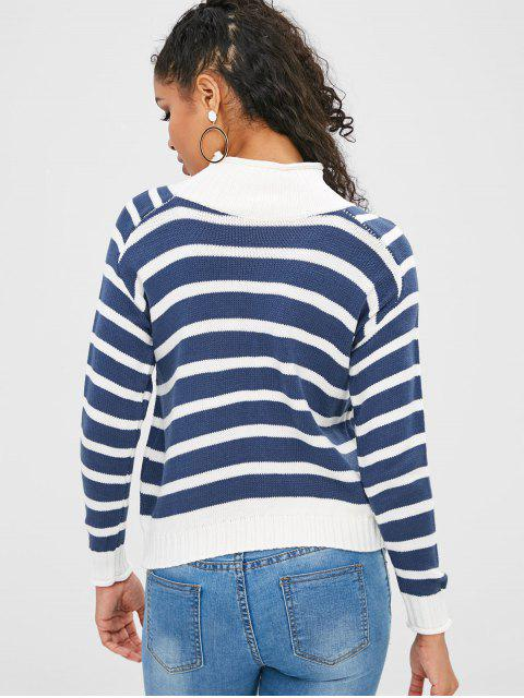 ladies High Neck Striped Contrast Sweater - SILK BLUE ONE SIZE Mobile