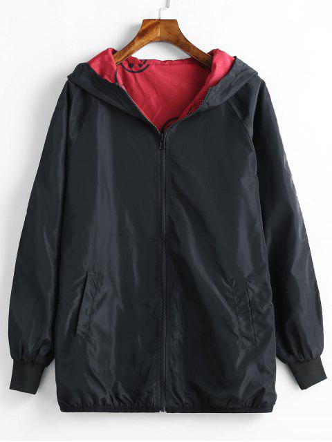 buy Hooded Plus Size Zip Embroidered Jacket - BLACK 3X Mobile
